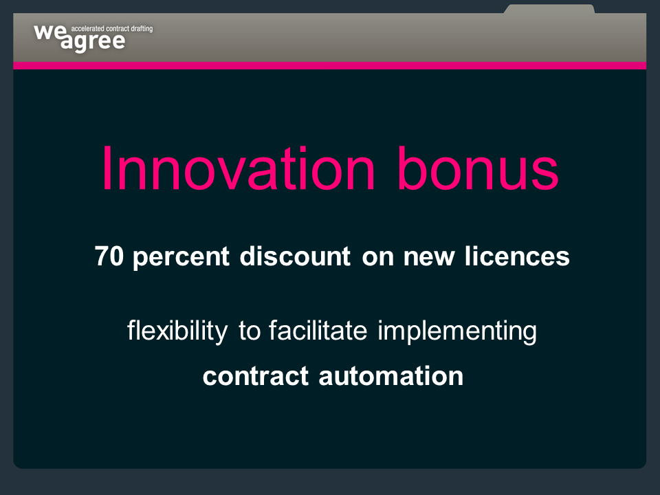 Contract automation Innovation bonus