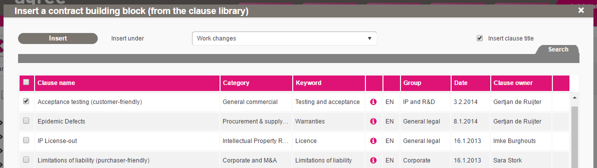 Weagree clause library screenshot