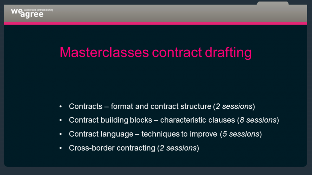 Weagree Coverpage Masterclasses Contract Drafting Programme 1 Masterclass Contract Drafting